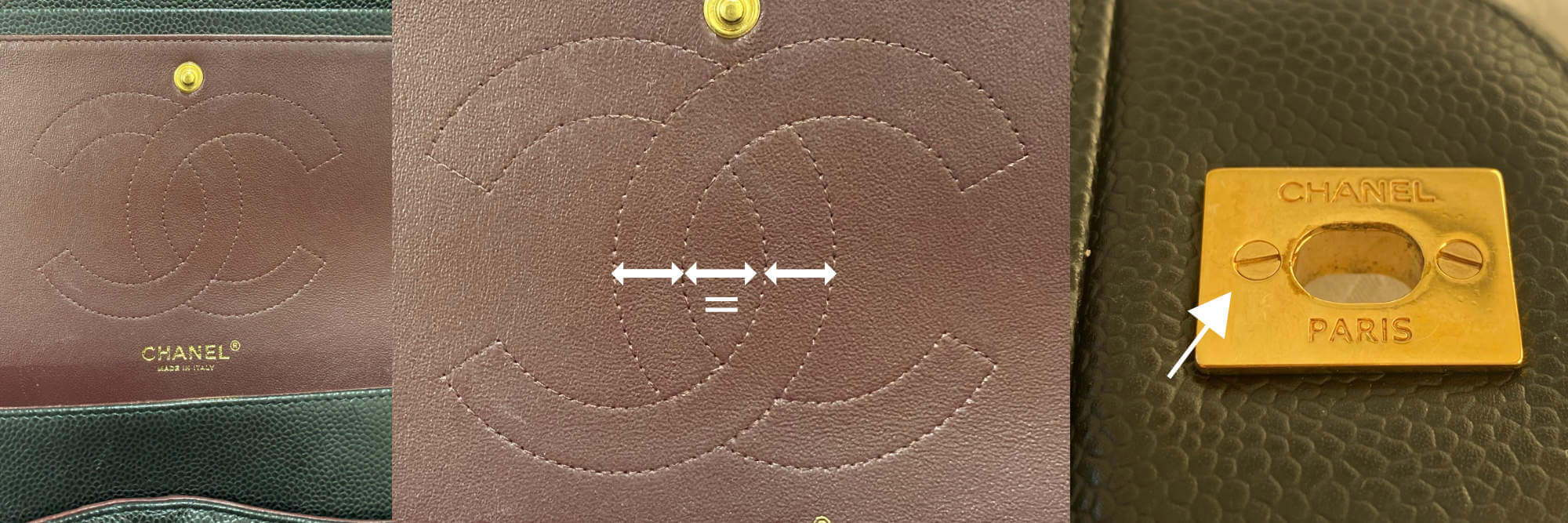 Authentic Chanel logo stitching and lock plate