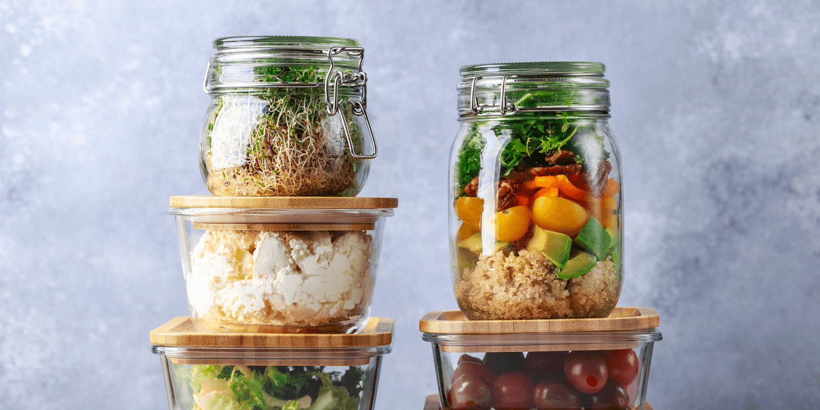 Fresh food in containers.