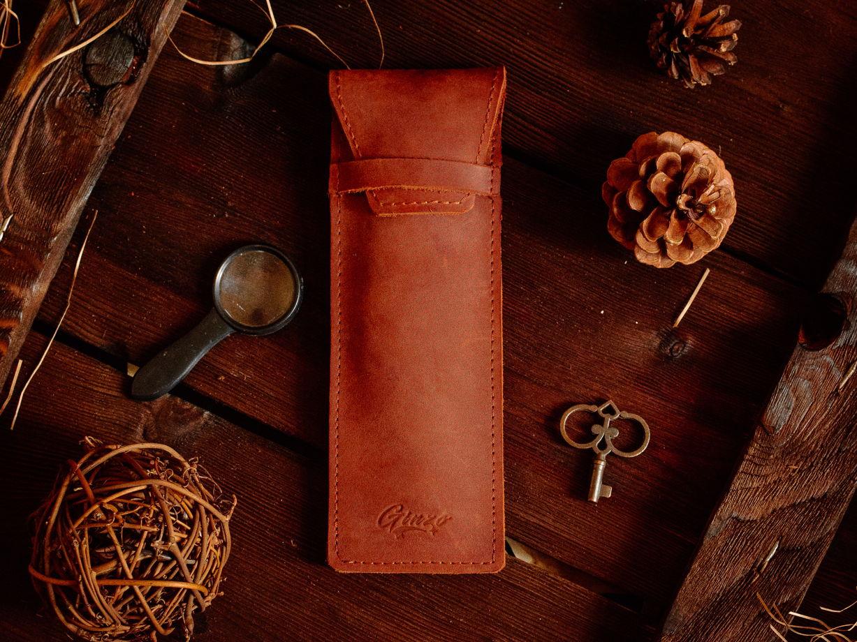 Кожаный пенал -LANCE- цвет Cognac
