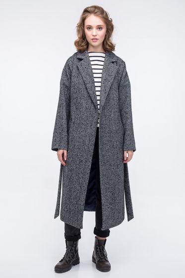 Пальто-халат серый твидовое