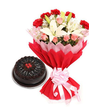 HF Mix Flowers With Cake