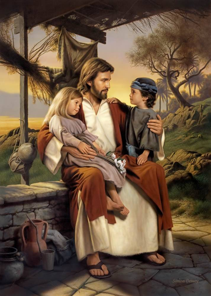 LDS art painting of little boy and little girl each sitting on Jesus' lap.