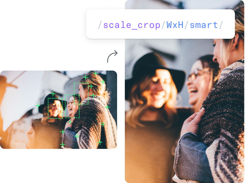 Content-aware cropping with detection of faces example