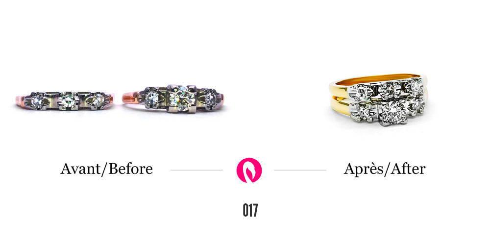 Transformation de deux bagues avec trois diamants chacun en une bague à deux anneaux en or jaune avec un pavé de six diamants.