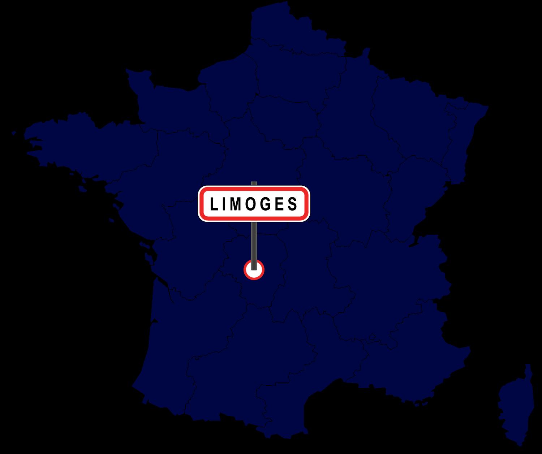 Carte de France avec Limoges