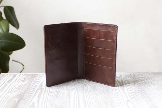 """Коричневый холдер для паспорта, карт, банкнот """"Горячий шоколад"""""""