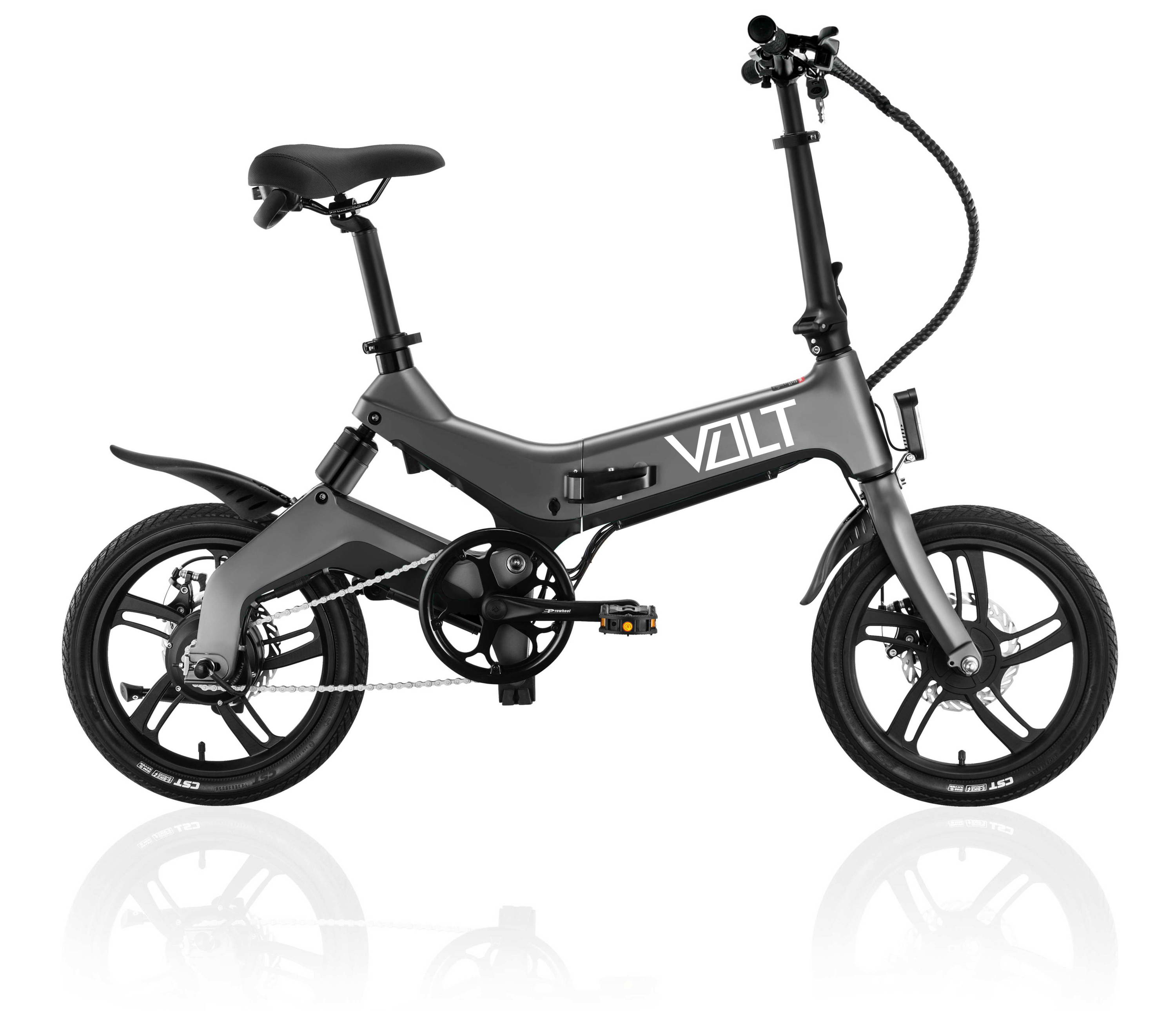 VOLT mate urban electric bicycle in gunmetal grey colour. VOLT e-bikes has 5 exciting colours and finishes. VOLT ebicycle with built in front and rear bike lights. VOLT Mate Australian ebike has rear suspension and rear mounted 250w motor. VOLT pedal assist bikes and VOLT pedalecs.
