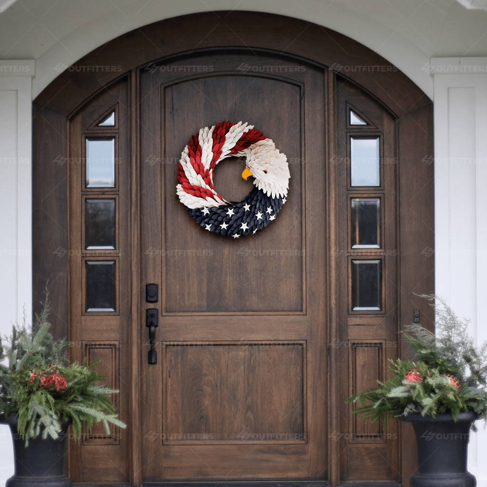 american eagle door wreath, american eagle wreath pier 1, eagle head flag wreath,