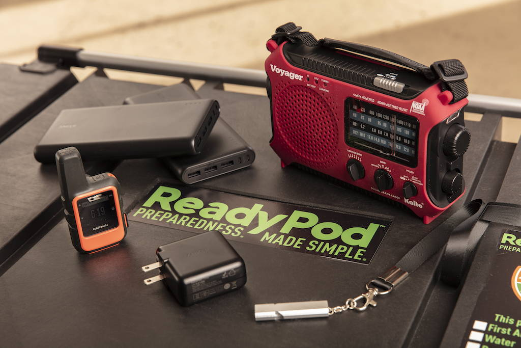 ReadyPod™ shelter-in-place kits include high tech gear for satellite communications, multiple backup power sources, and redundant low tech solutions