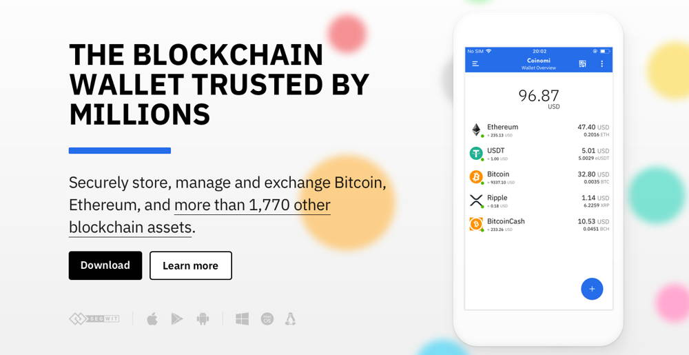 Website of Coinomi Bitcoin wallet for mobile phones