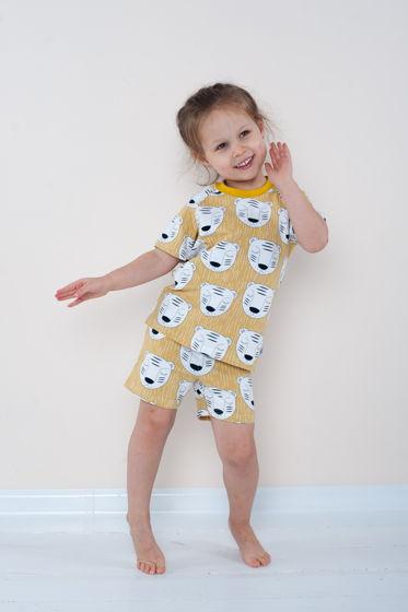 """Летняя пижама для девочки жёлтого цвета """"Спящие тигры"""""""