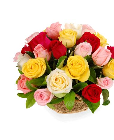 hf Mix Roses Basket Arrangement