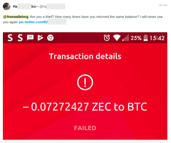 transaction failed on Freewallet