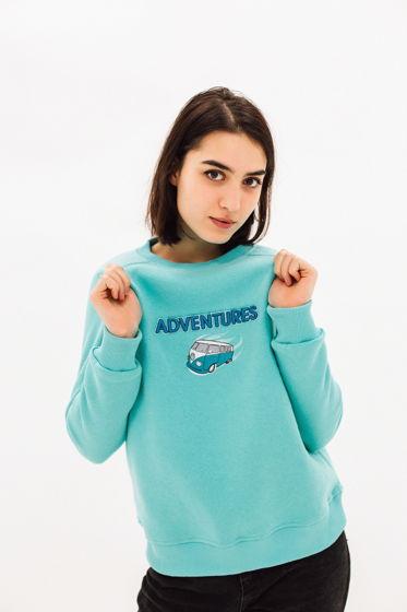 """Свитшот с 3D вышивкой """"Adventures"""" мятный"""