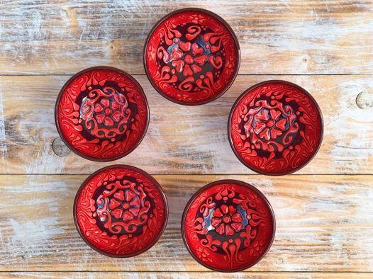 Набор красных керамических соусниц (5 шт)