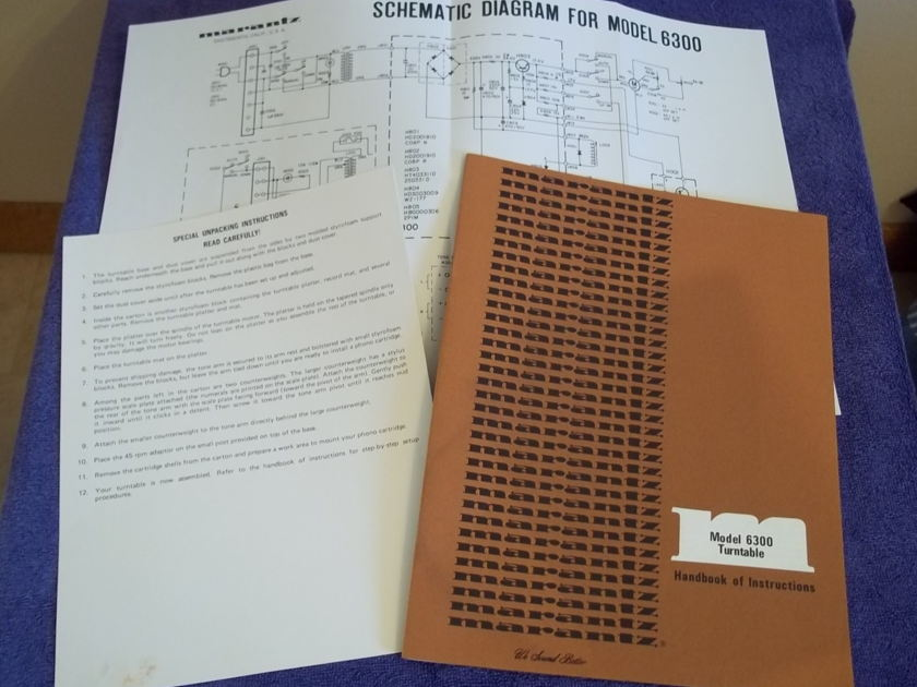 Marantz 6300  manuals and original paperwork  excellent
