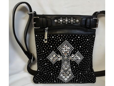 Black Rhinestone Cross Crossbody