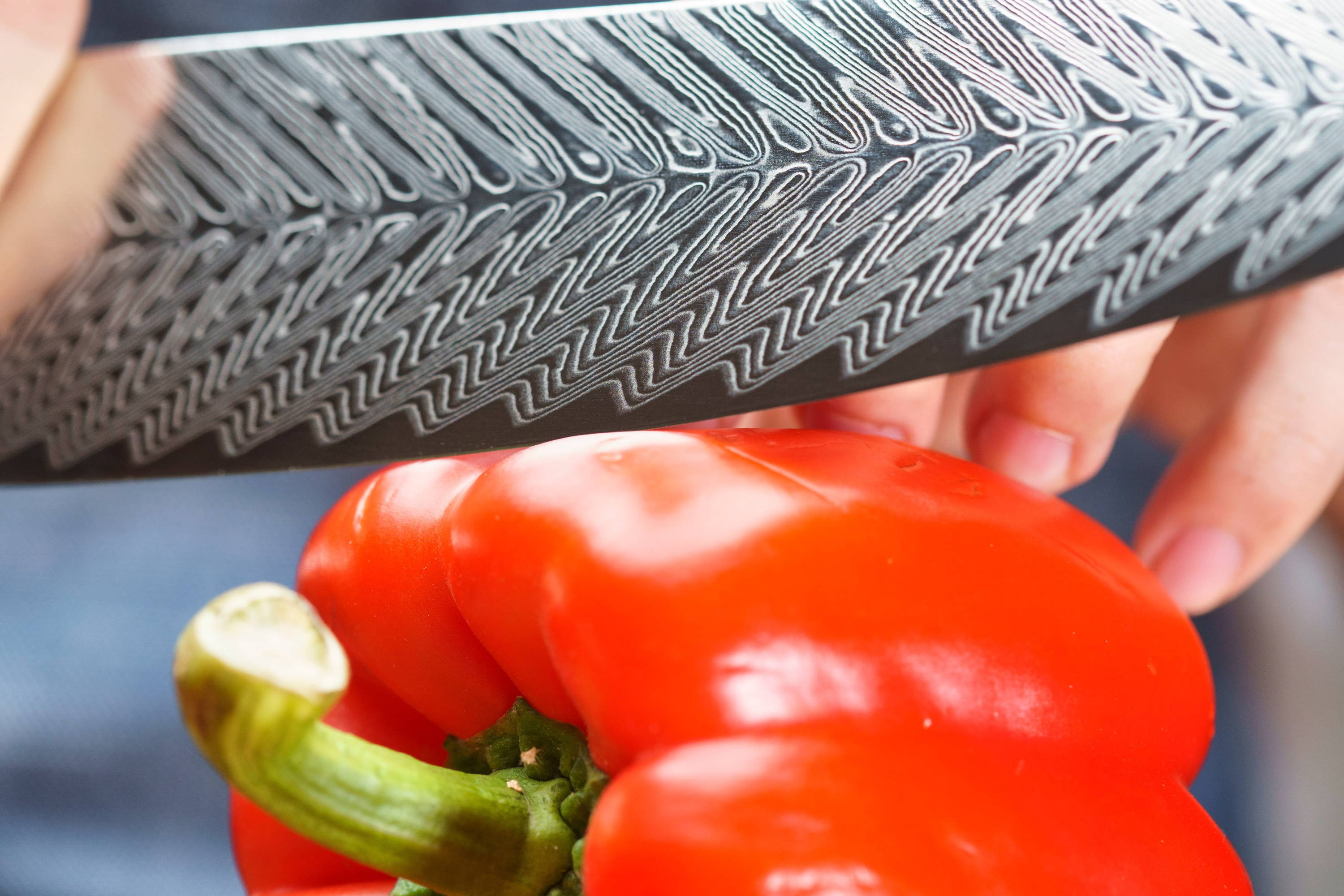 Chef Knife Cutting Pepers