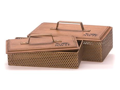 Wood & Metal Mesh Boxes Set of 2