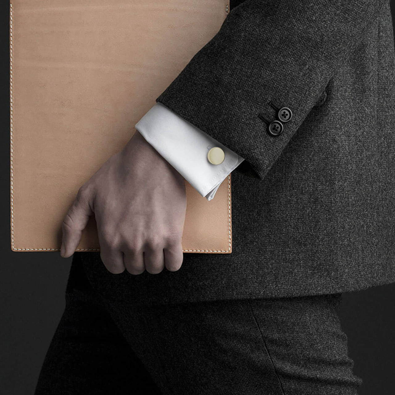 Polished Brass Cufflink worn
