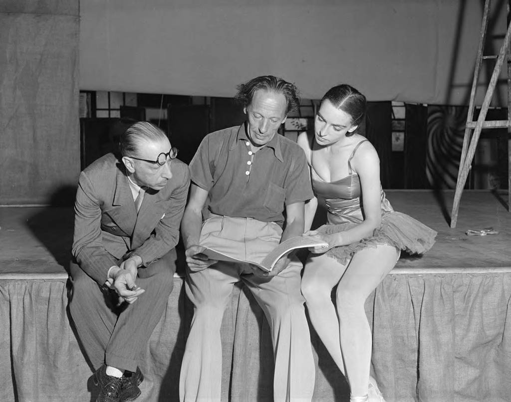 Igor Stravinsky, Nana Gollner (ballerina) and Adolph Bolm (choreographer) during rehearsal at the Hollywood Bowl