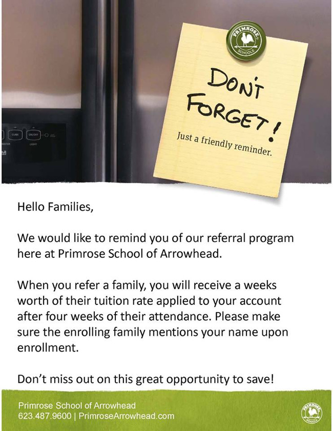 Primrose school referral program poster