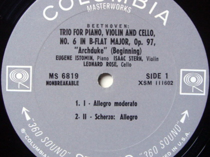 Columbia / STERN-ROSE-ISTOMIN TRIO, - Beethoven Archduke Trio,  MINT!