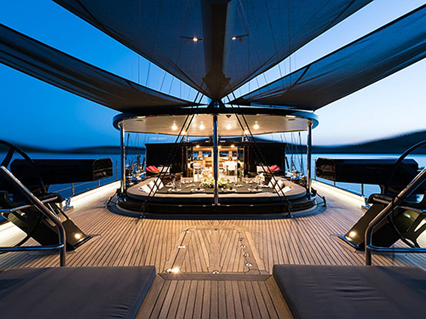 Sintra - The exclusive yacht Rox Star was designed as a safe, world cruising sail yacht with comfort and space to rival that of a motor yacht. There is luxurious accomodation for ten guests in five spacious double cabins plus three crew cabins for a crew of seven. Rox Star's concept has been imagined by the world class design studio following a theme of rock music.(Image source: Engel & Völkers Yachting)
