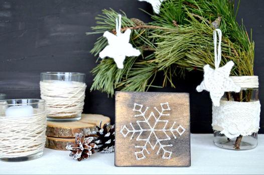 String Art Snowflake Деревянная открытка Снежинка