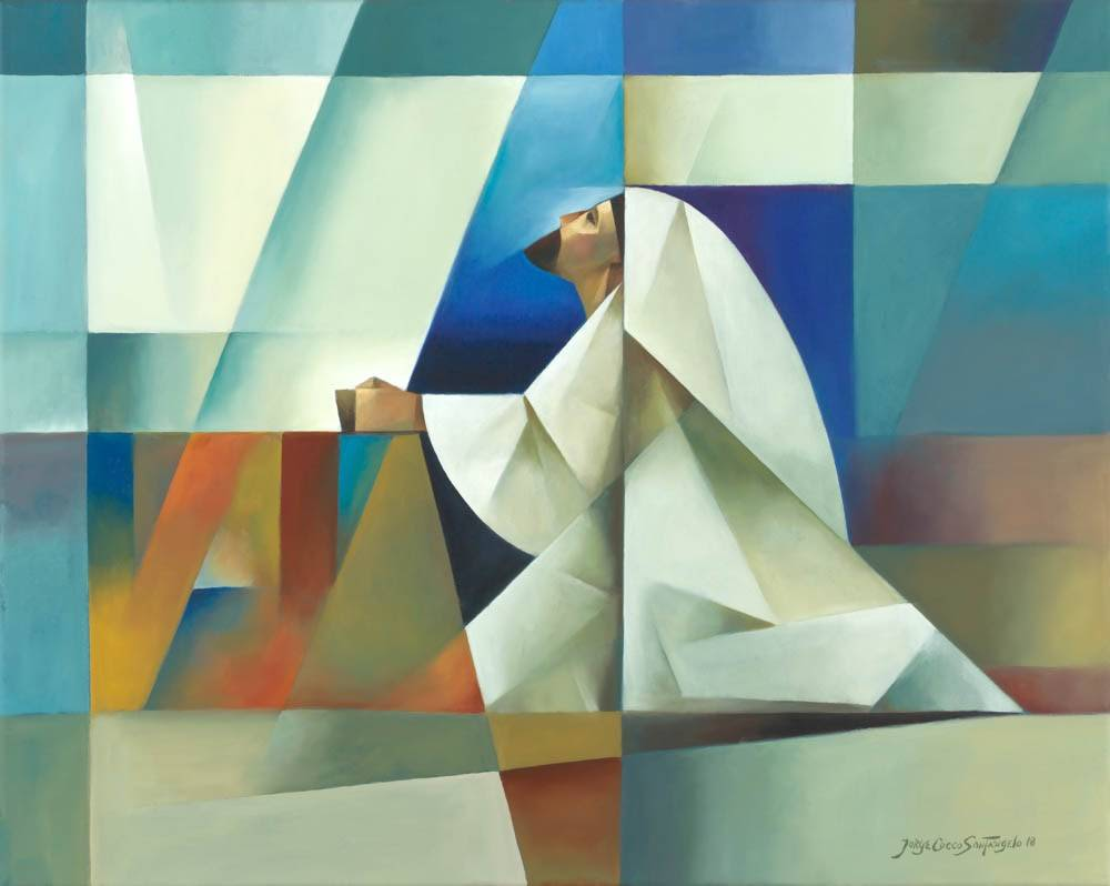 Cubism-style painting of Jesus praying in Gethsemane.