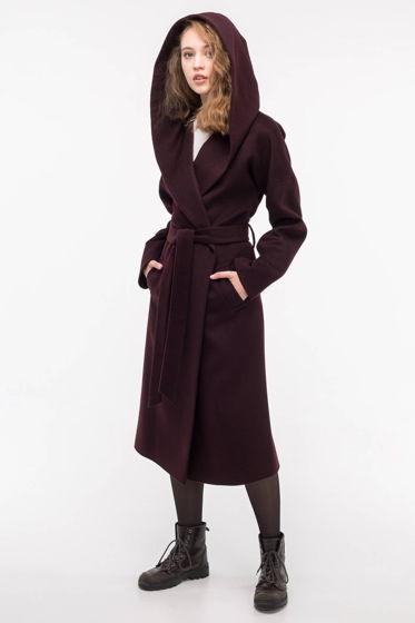 Пальто-халат с капюшоном баклажановое