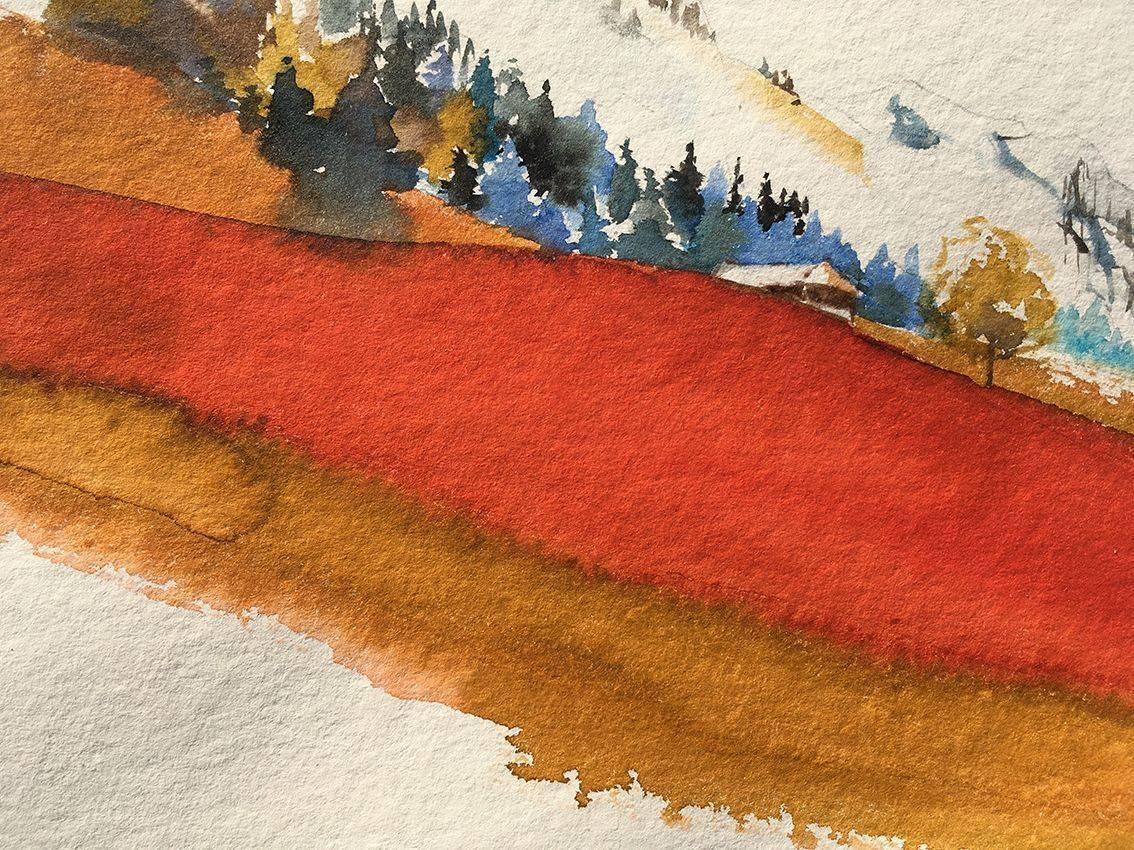 aquarelle rouge faite main, pour Beerscuit le biscuit apéro recyclé