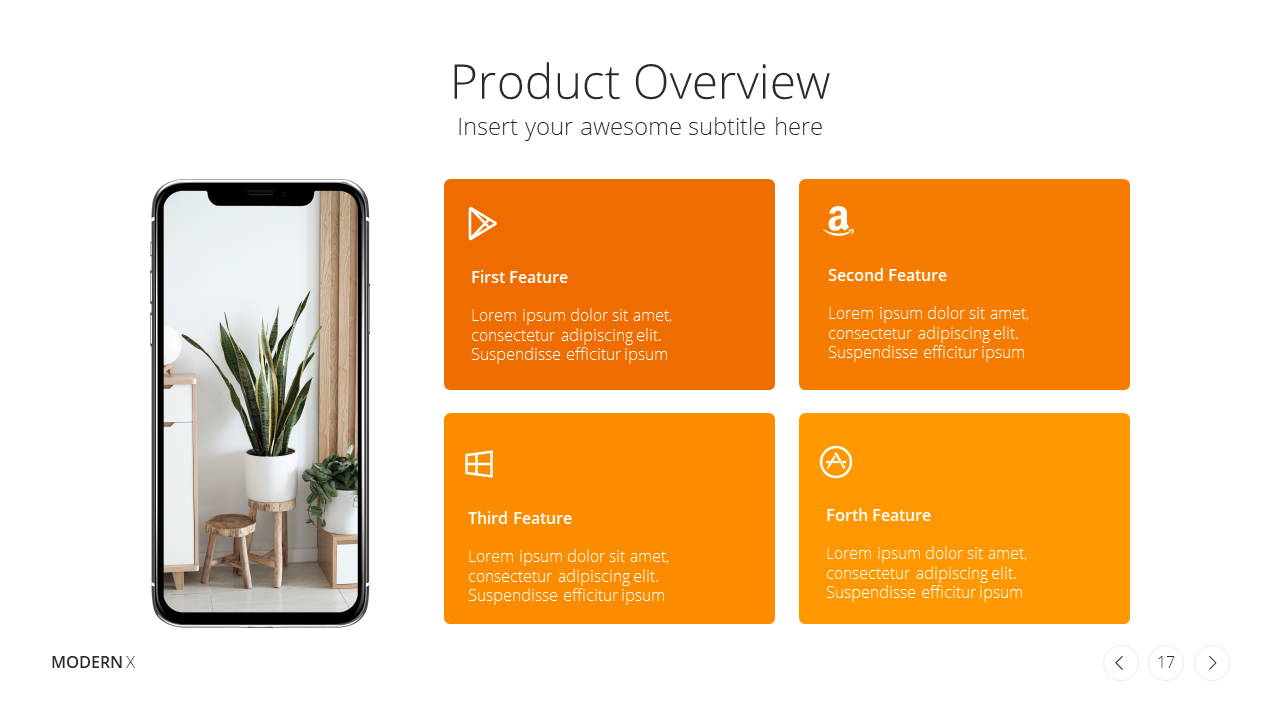 Modern X Presentation Template Business Plan Product Overview