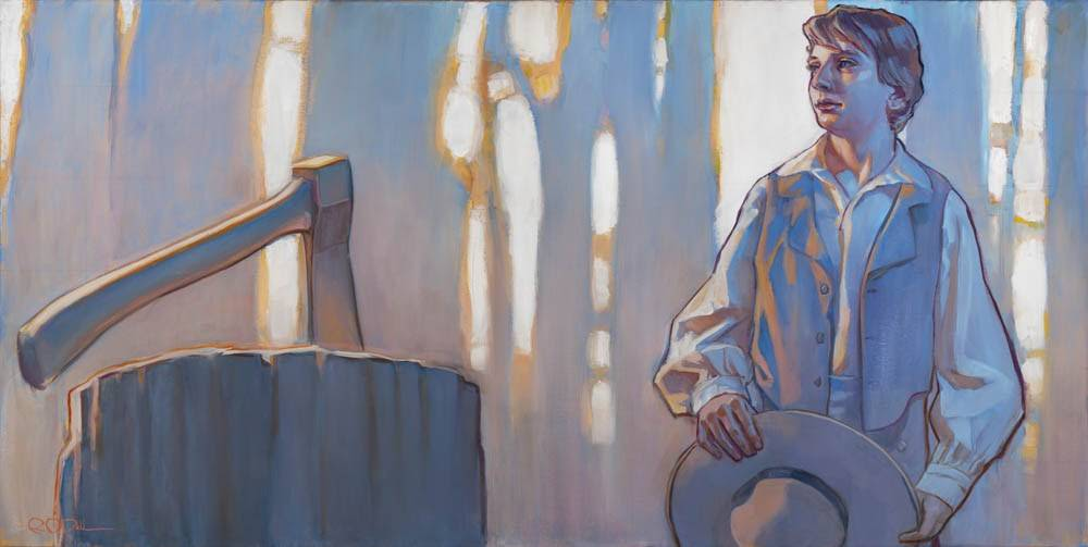 Horizontal painting of young Joseph Smith walking through the Sacred Grove. A hatchet sticks in a stump on the left.