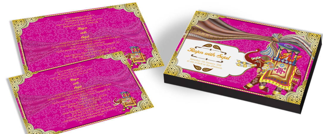 Indian Wedding Invitation with Elephant Theme
