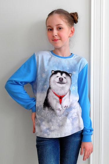 Хлопковый лонгслив с принтом щеночка по кличке Счастливчик