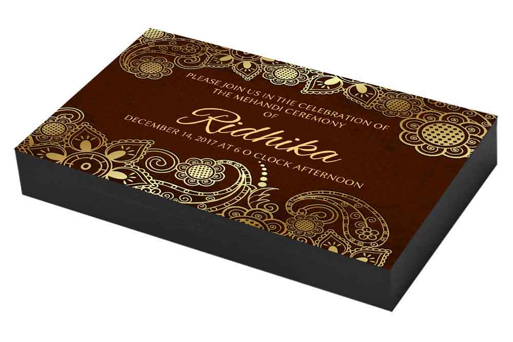 Golden Bordered Mehndi Invitation