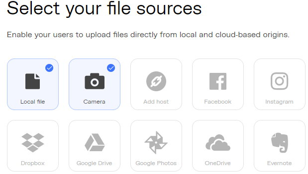 Uploadcare file source selection screen