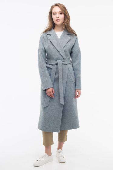 Пальто-халат голубой твид