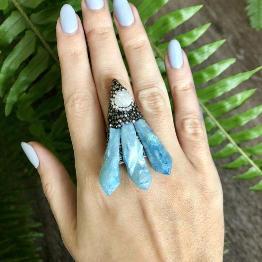 Кольцо с кристаллами, друзой агата и цирконами