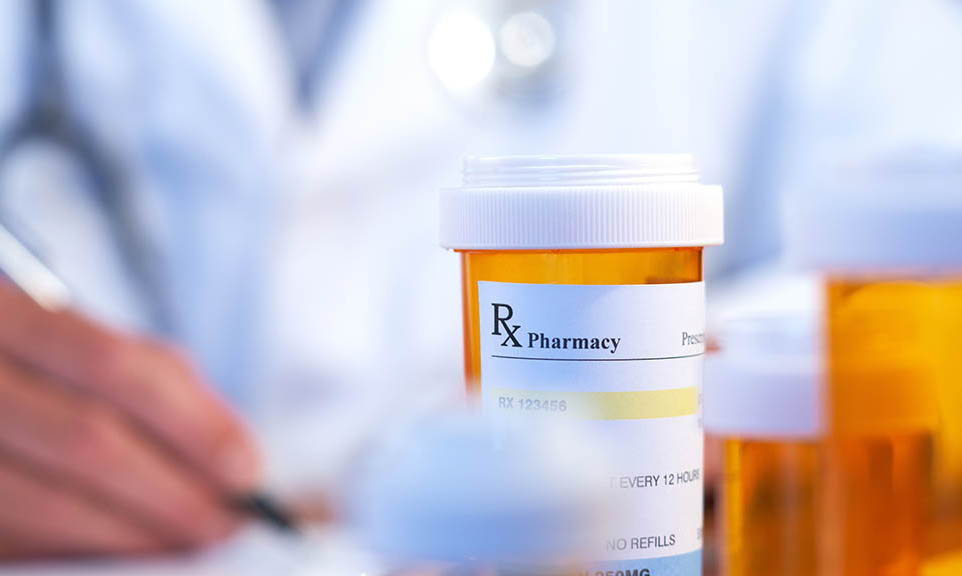 close up of medicine bottle