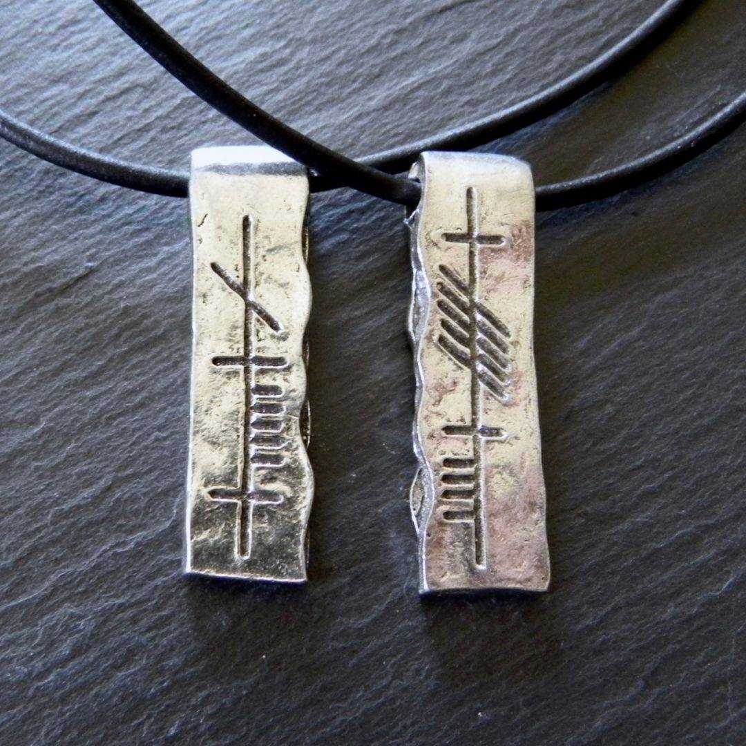 Ogham Art  Celtic Festival Online Soul Friend Anam Cara Pewter Pendant Set