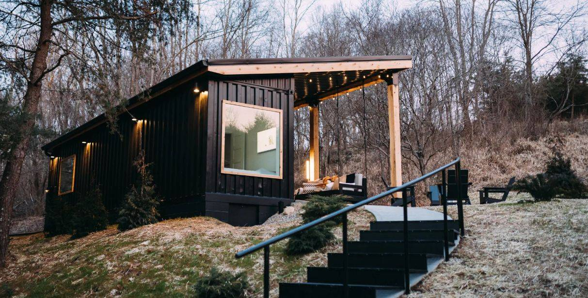 40 foot high cube shipping container cabin with staircase