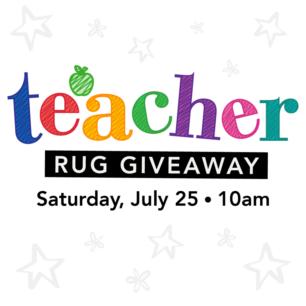 Picture of Teachers with a valid school I.D. can drive through and receive a FREE 5'x7' area rug while supplies last!