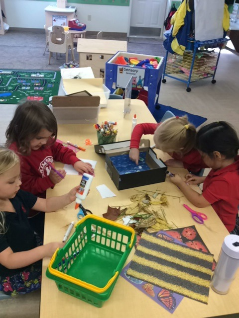 The Preschool class made habitats for their animals in the block area.