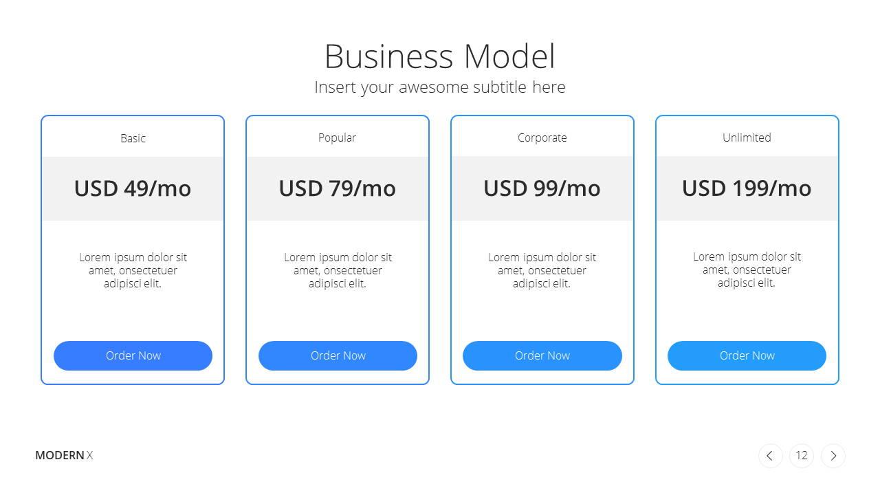 Modern X Pitch Deck Presentation Template Business Model