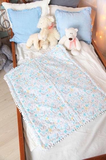 Одеялко из  хлопка бирюзовых оттенков  ручной работы