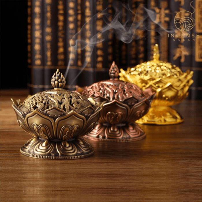 Lotus Flower Sandalwood Censer Incense Holder