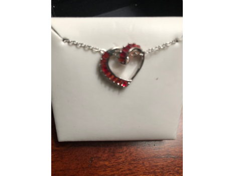 Sterling Silver & Red Heart Necklace