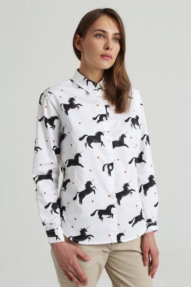 Рубашка белая с единорогами